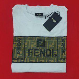 Fendi Men Crewneck Cotton Short Sleeve Shirt